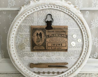 Frame romantic retro my little laundry: old paper, lace, linen and dyed bag clip