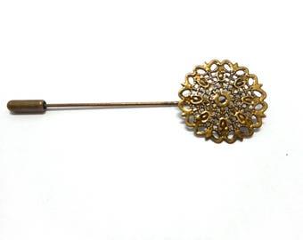 Fibule, broche couleur bronze avec support cabochon