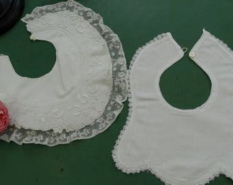 Old bibs, bibs, vintage, 2 bibs ancient embroidery and lace from Valencia, antique french bibs. baby accessories