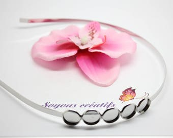 1 headband with 5 cabochons 12mm silver matte-