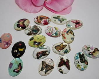 Lot 10 pattern Butterfly craft 18x25mm glass cabochon