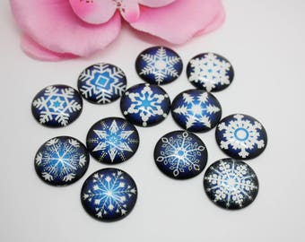 20 Cabochons glass pattern snowflakes set blue 20mm glue - SC72009.
