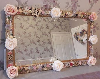 Hand decorated boutique floral rose mirror