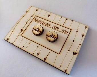 handmade wooden mountain earrings