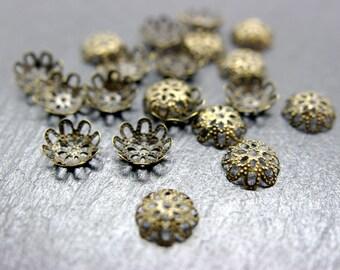 set of 100 caps 10 mm bronze