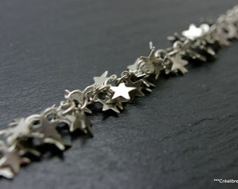 13 cm stars 6 mm silver plated brass chain