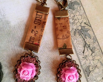 quite smoothly earrings shabby romantic cotton print