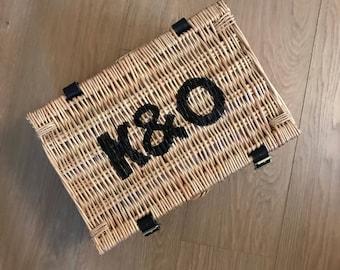 hamper basket initial monogrammed storage basket wicker