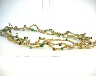 Glass Bead Necklace on natural linen Twine