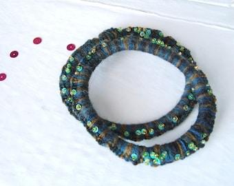 Blue melange wool and sequins 14 cod2 bracelets/bracelets