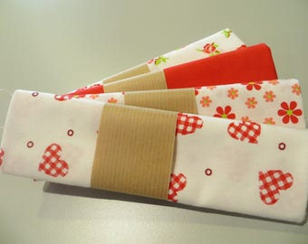four coupons 50 x 50 cm, shades of Red 100% cotton fabric