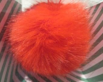 Pompom fake fur, 5cm diameter, Red