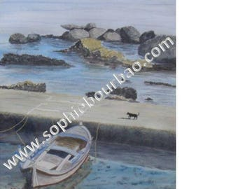 Boat in Greece with Chat Noir - watercolor