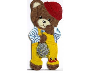 "Honey Bear ""Breton sailor"" wood and paper"