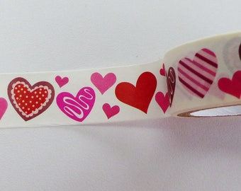 Washi tape red and pink washi heart 15 mm wide and 2.5 metres