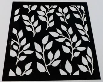 soft stenciled leaves on branches 15 cm square