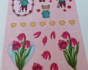 A4 paper with precut to assemble for a 3-d Tulip cat image