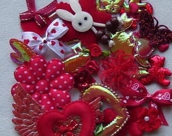 25 red embellishments scrapbooking cardmaking satin velvet fabric