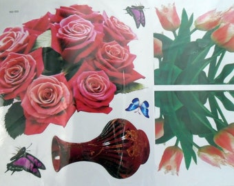 WALL DECALS FLOWERS * PINK D *.