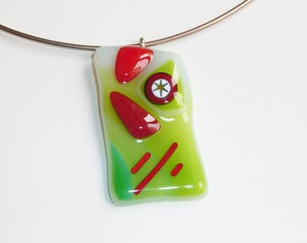 """""""Circus circus"""" fused glass necklace"""