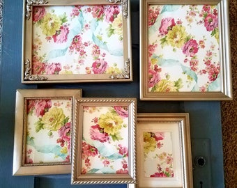ON SALE Antique White Picture Frame Set-wall gallery-collection of 5-vintage style-photo frame-shabby chic-home wedding-glass and backing