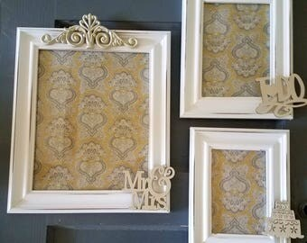 ON SALE-Antique White- Picture Frame Set-wall gallery-collection of 3-vintage style-photo frame-shabby chic-home wedding-glass and backing