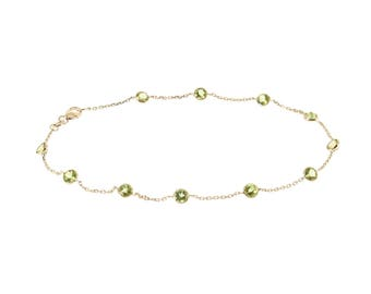 14k Yellow Gold Handmade Station Anklet With Peridot Gemstones By the Yard 9 - 11 Inches