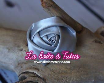 Applique pink satin fabric flower diy for bustier headband ★ belt ★ RS2 - grey