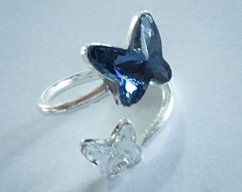 silver ring with swarovski crystal elements