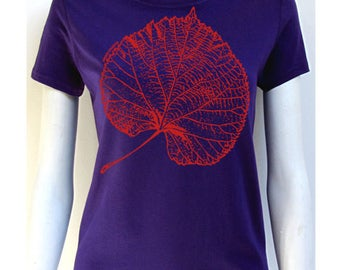 t-shirt women leaf green-division, indigo, short sleeves, 100% cotton