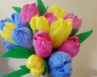 Six tulips in crepe paper