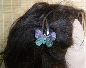 """Barrette """"Butterfly"""" fairy green and purple leather"""