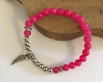 Bracelet Jade gemstone beads 'rosé'