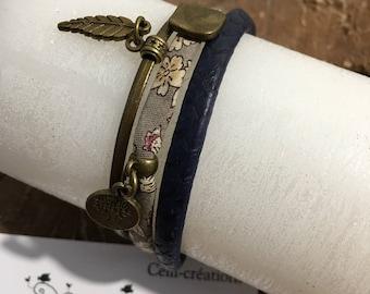 Bronze Cuff Bracelet 'Floral liberty'