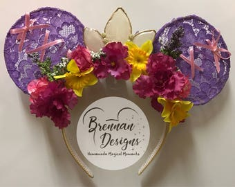 Rapunzel Inspired Mouse Ears with Floral Crown, Lace and Ribbon Details