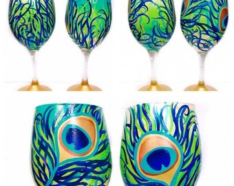 Peacock Feather Hand Painted Wine Glasses Set of 2 Peacock Wine Glasses Unique Gift Wedding Gift Anniversary Engagement Gift