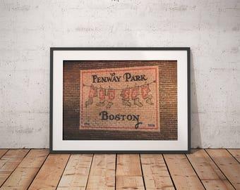 Fenway Park, Red Sox, baseball, Boston MA, Massachusetts, brick wall, wall decor, photograph, canvas