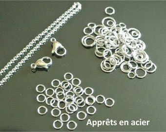 Set of steel finishes (L4A) chain rolo or Belcher, hooks and rings