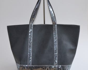 Faux leather gray sequins gray tote bag handmade @lacouturebytitia