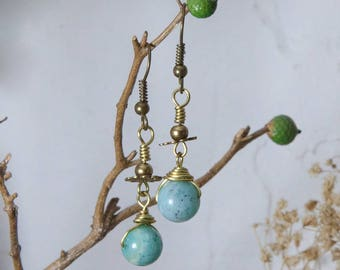 Earrings antique bronze beads and Amazonite