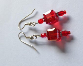 Red Crystal cube earrings