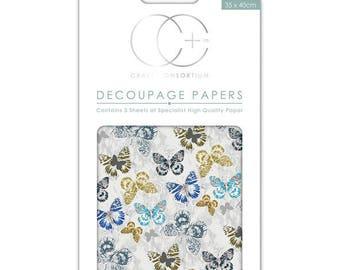 Paper patch (3 sheets) Blue butterflies - CCDECP217