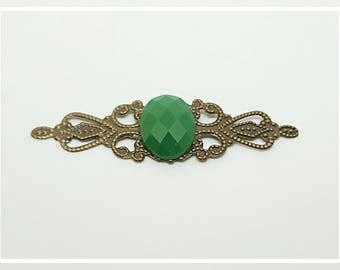 Engraving filigree bronze green cabochon