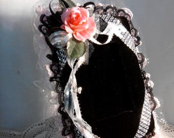 Fabric and lace covered picture frame with silver accents. Includes free potpourri sachet and FREE SHIPPING
