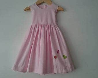 Dress for girl pink quilted