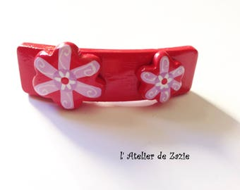Wood appliques red flowers hair Barrette