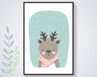 Affiche Poster cerf biche Hiver Pastel Nature Illustration Déco Chambre Enfant Bébé Affiche Enfant Affiche Bébé Animal Art Numérique