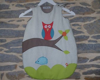 Multicolored embroidered sleeping bag 0-6 months (65 cm) customizable to order