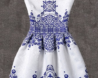 Vintage crushed blue and white dress