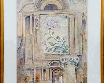 Large Framed Lithograph,  IMPERIAL PEONY,  Hotel Art, 1950's